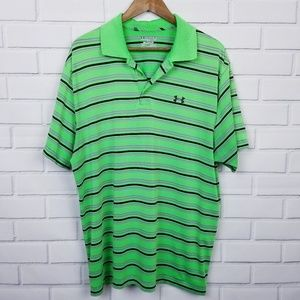 Under ARMOUR Mens Green Striped Polo Shirt 2 XL